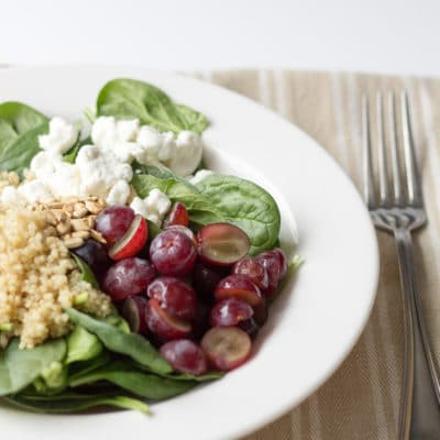 Spinach Quinoa Salad With Grapes & Goat Cheese