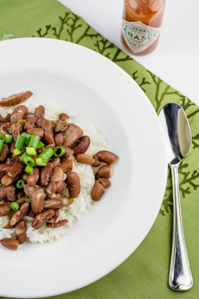 Red Beans and Rice - the perfect portion for two! This recipe makes enough for two hearty dinners plus two light lunches with the leftovers.