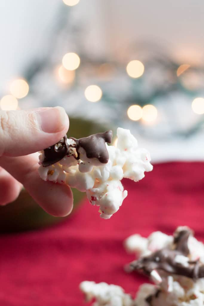 Holly Jolly Peppermint Popcorn | Popcorn coated with vanilla almond bark, crushed candy canes & chocolate.
