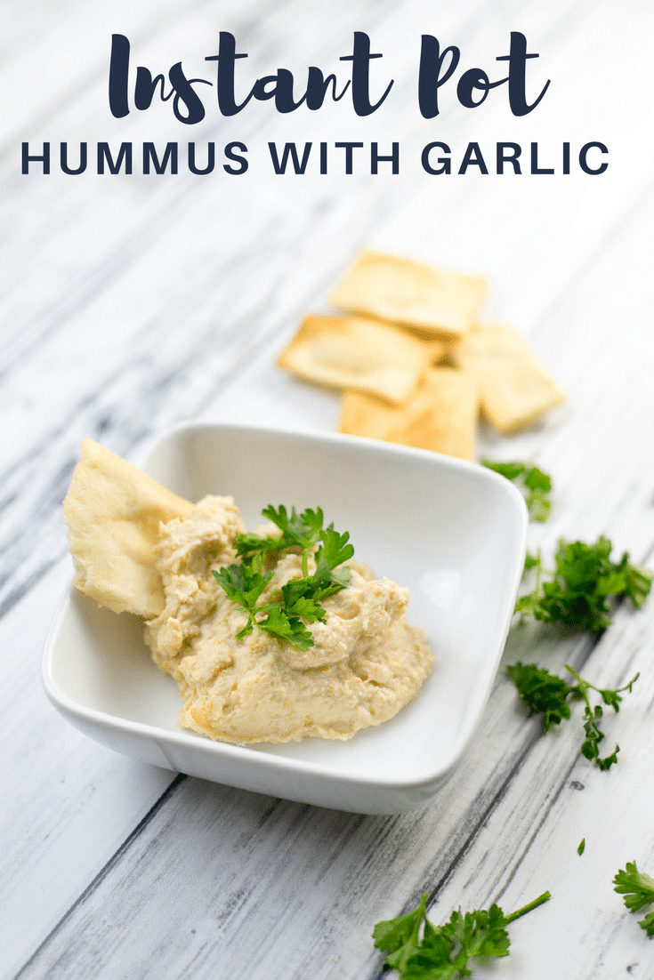It's so easy to make garlicky hummus in the Instant Pot using dried garbanzo beans (also known as chickpeas). There's no soaking required, and it only takes about an hour, from start to finish.