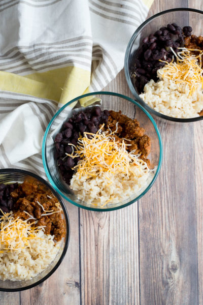 Healthy Lunch Meal Prep: Turkey Taco Bowls