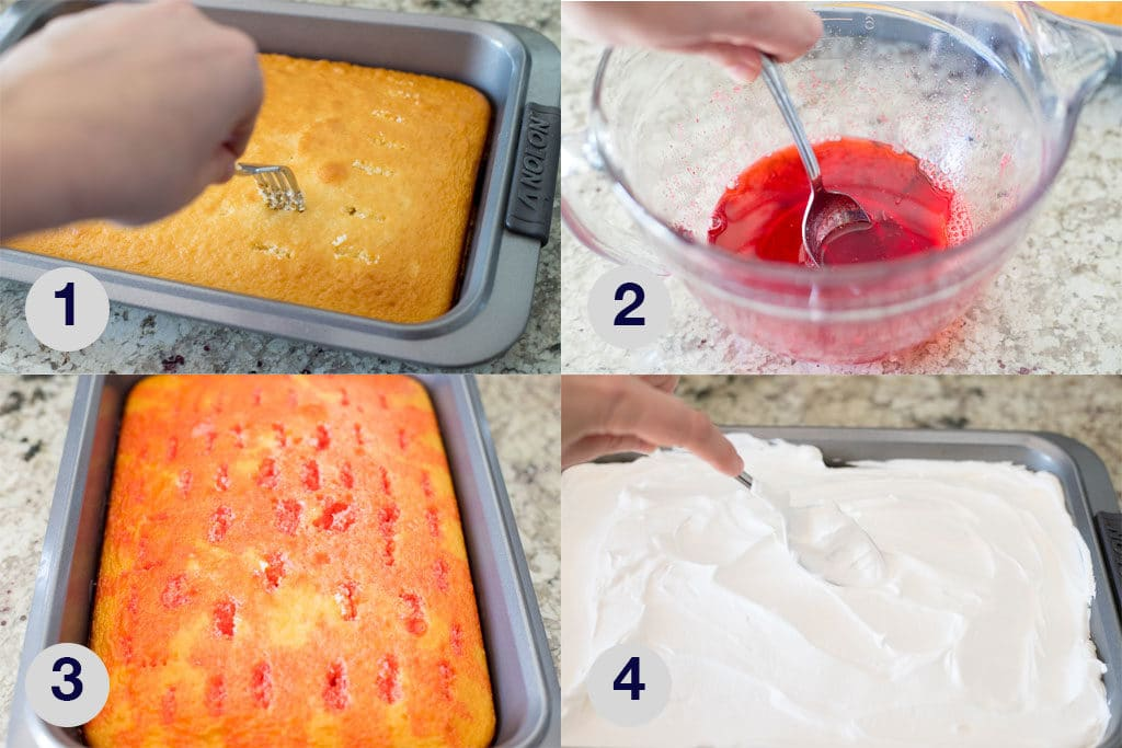 photos showing key steps in making jello poke cake