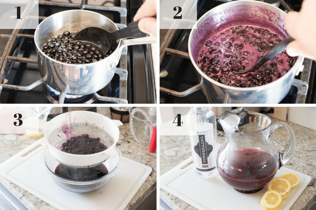 step by step instructions for making blueberry collins