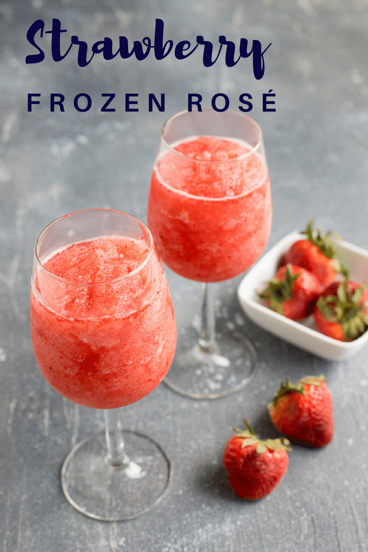 This strawberry frosé uses frozen rosé wine blended with strawberries and a splash of lemonade. It's the perfect refreshing wine cocktail for summer. #wineslushy #frosé #summertimedrinks